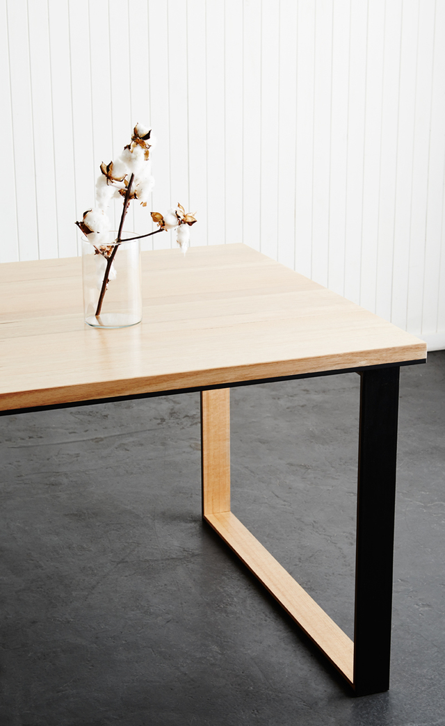 polished table dining frame with industrial metal chunky concrete pin