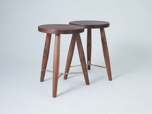 Wood stools with curved brass bracing by Jonathan West - Stool, Tallowwood, Walnut, Brass, Custommade