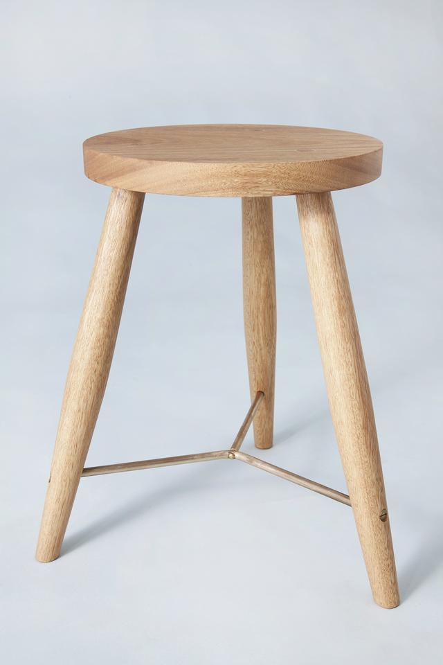 Wood stools with curved brass bracing by Jonathan West - Stool, Tallowwood, Walnut, Brass, Custommade