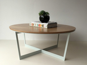 Brother Lui Coffee Table by Luke Rogers - Coffee Table, American Oak, Steel Table