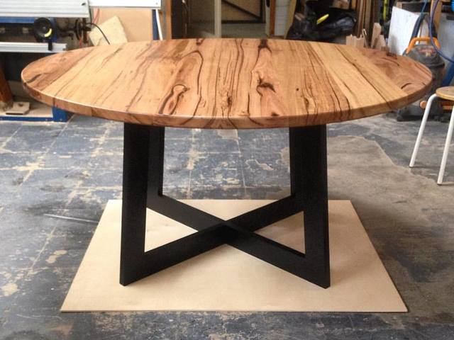 Round Mixed Hardwood Table by Anthony Kleine - Table, Dining Table, Hardwood, Chestnut