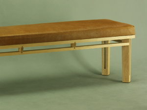 Beach St Bench by John Gallagher - Bench Seat, Seating, Bedroom, Leather, Oak, Cow Skin