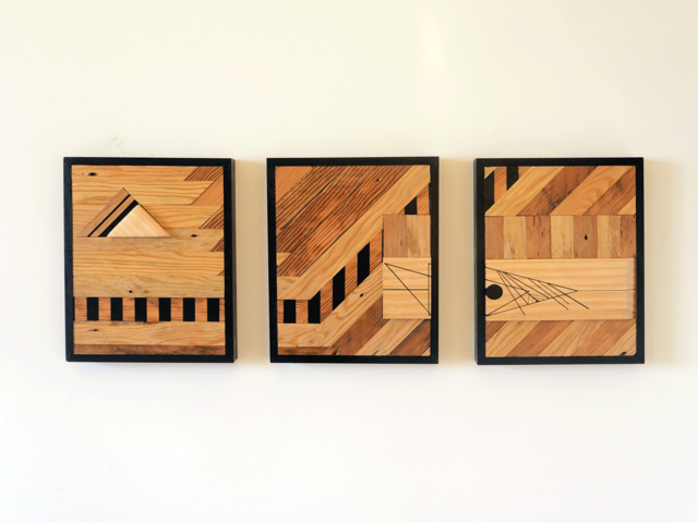 Two's Triptych by Flitch & Rasp - Recycled Timber, Wall Art, 3D Design
