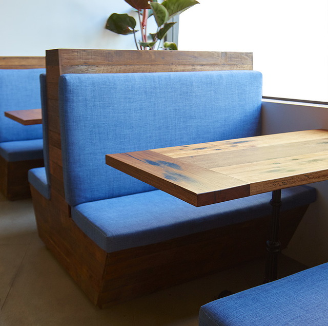 Recycled Sleeper Dining Table by Queen & Crawford - Railway Sleeper, Recycled, Reclaimed, Booth Seats