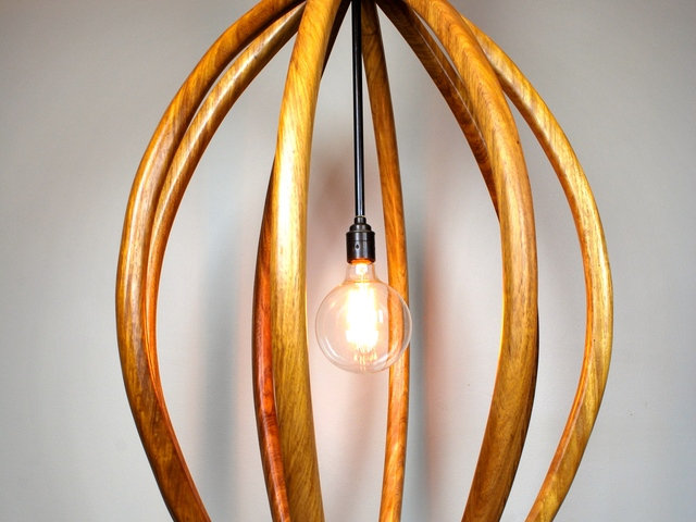 The Seed Pod by Victoria Keesing Furniture Design - Lighting, Light, Seed Pod, Wood, New Guinea, Rosewood, Edison Lightbulb