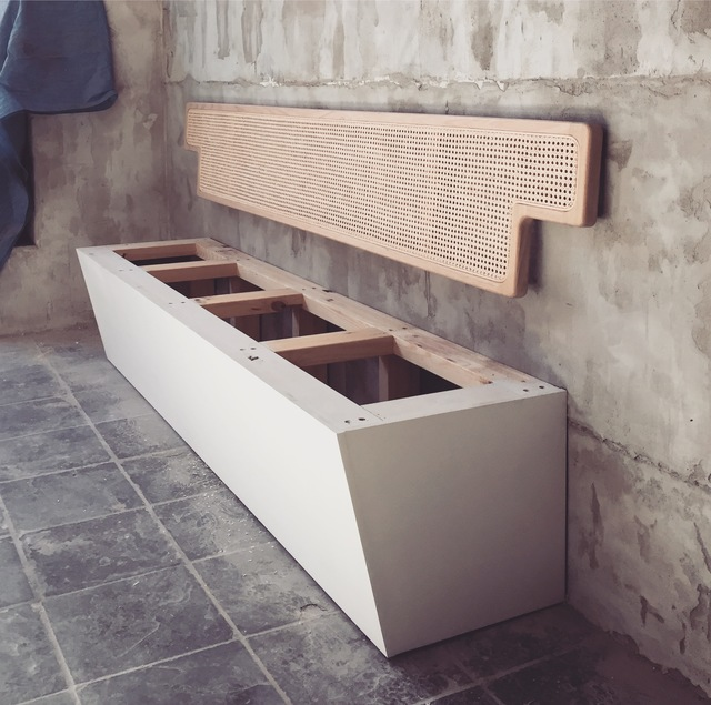 Rattan Banquette Seating by Niall Little - Customjoinery