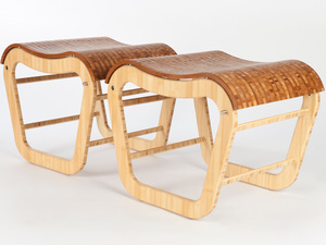 Bamboo plywood Mode stools & table by David Cummins - Bamboo Plywood, Modular, Handcrafted, Sustainable, Contemporary