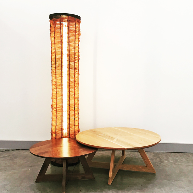 The Copper Tower by Victoria Keesing Furniture Design - Lighting, Copper Tower, Copper Tower Lighting, Oak, Copper Mesh, Copper, Light, Light Tower