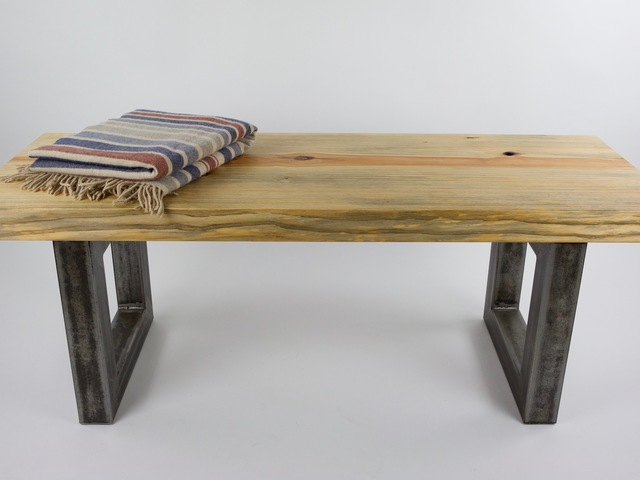 Box Frame bench seat by Argon Bespoke - Industrial, Steel, Bench, Pine, Slab, Contempoary, Tough