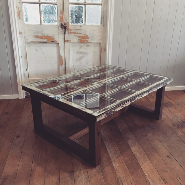Coffee With a View by Backwoods Original - Coffee Table, Recycled Timber, Sustainable Design, Small Table, Table, Rustic, Repurposed, Reclaimed, Glass Top, Sustainable