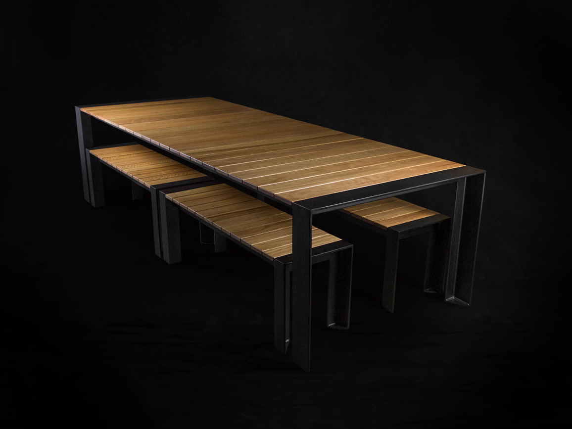 Beacon outdoor table bench seats by makimaki furniture for Outdoor table with bench seats