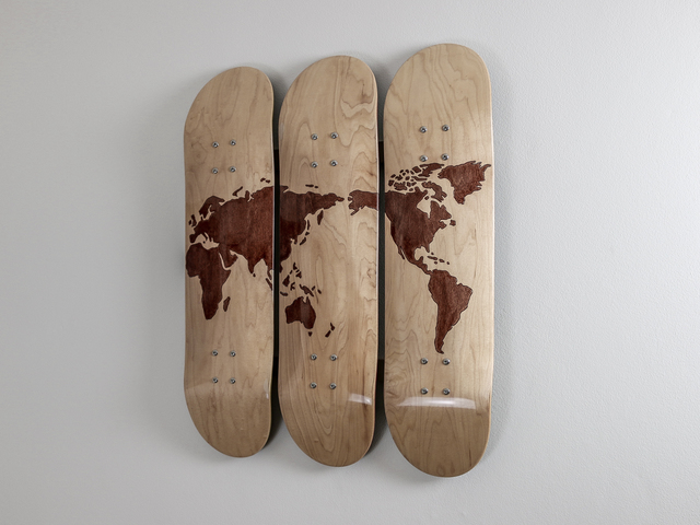 World Skate Decks by Pedullá Studio - Wall Art, World Map, Stained, High Gloss