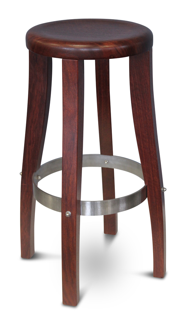 Sorrento Round Timber Bar Stool - Jarrah by Albany Fine Furniture - Bar Stool, Stool, Round, Solid Jarrah Timber, Stainless Steel, Perth WA