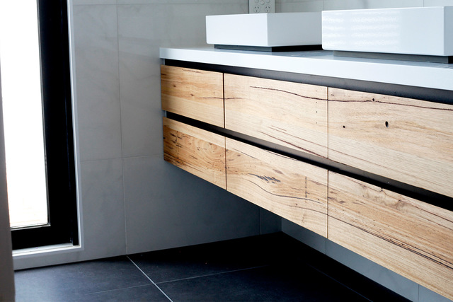 Tathra Floating Timber Bathroom Vanity by Bombora Custom Furniture - Timber Vanity, Wall Hung Vanity, Bathroom Vanity, Solid Timber Vanity, Stone Top Vanity, Custom Made Vanity, Tathra Vanity, Bespoke Vanity, Messmate Vanity, Floating Vanity