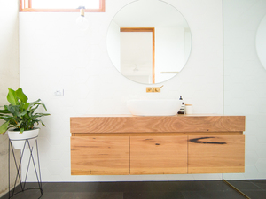 Avoca Floating Timber Bathroom Vanity by Bombora Custom Furniture - Vanity, Floating Vanity, Timber Vanity, Custom Vantiy, Solid Timber Vanity, Wall Hung Vanity, Bathroom Vanity, Bespoke Vanity, Recycled Timber Vanity, Avoca Vanity