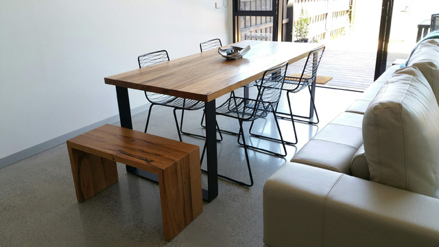 Bessie dining table with contrast box legs by Retrograde Furniture - Recycled Timber, Rustic