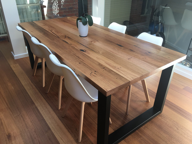 Bessie Dining Table With Contrast Box Legs By Retrograde