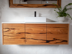 Red Hill Recycled Timber Floating Bathroom Vanity with Stone Top - 1500x500x500 by Retrograde Furniture - Bathroom Vanity, Recycled Timber