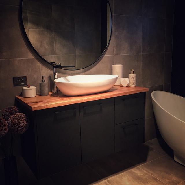 Custom timber bathroom vanity top by Retrograde Furniture - Custom, Custom Benchtop, Timber Benchtop