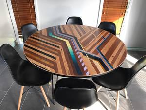 MEGS || Round Dining Table Top by Flitch & Rasp - Furniture, Art, Reclaimed Timber, Recycled Timber, Dining Table