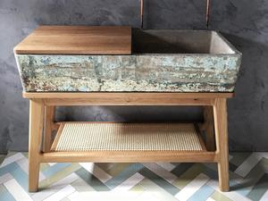 Bathroom Vanity Stand by Curious  Tales - Bathroom, Vanity Stand, Bespoke, Oak, Concrete