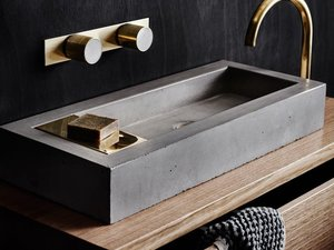 Zoe concrete and brass vanity basin by Oliver Maclatchy - Basin, Concrete, Brass, Vanity Basin, Bathroom