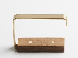 Gilbert timber and brass toilet roll holder by Oliver Maclatchy - Toilet Roll Holder, Bathroom, Timber & Brass
