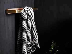 Josie timber and brass towel rail by Oliver Maclatchy - Bathroom, Towel Rail, Hand Towel Rail, Towel Rack, Brass, Victorian Ash