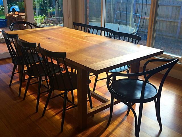 Oak Dining Table by Aaron Pitt - Dining Table, Oak, Breadboard, Stretcher