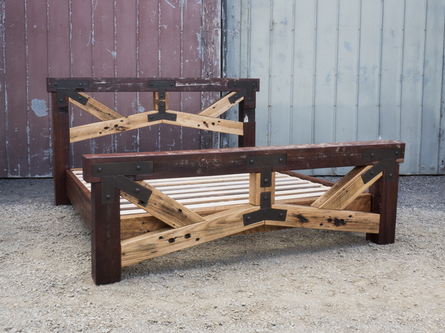 King size rustic theme bed base by Samuel O'Donnell - Bed Frame, Bed Base, Recycled Timber, Australian Timber, Timber Joinery, Freestanding Furniture, Rustic