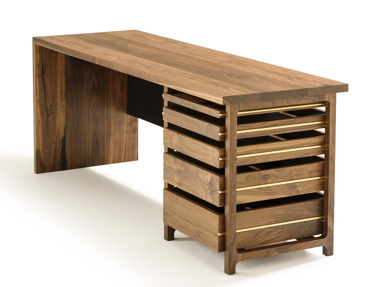 Section desk by matt pearson desk walnut brass office solid