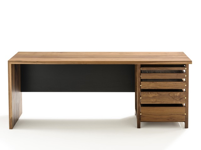 Section Desk by Matt Pearson - Desk, Walnut, Brass, Office, Solid, Timber