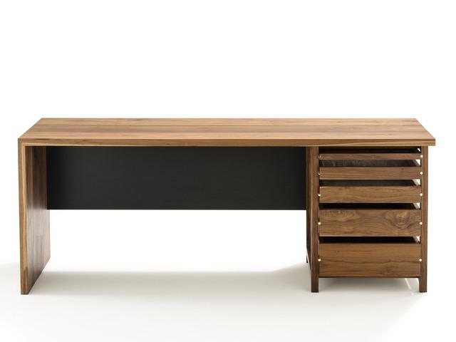 Section Desk by Matt Pearson - Desk, Walnut, Brass, Office, Solid, Timber