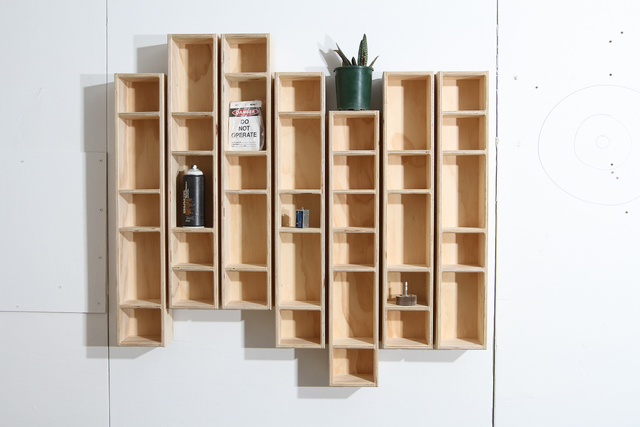 Seven Two Pigeon Holes by Like Butter - Wall Shelf, Shelf Display, Plywood, Raw Finish