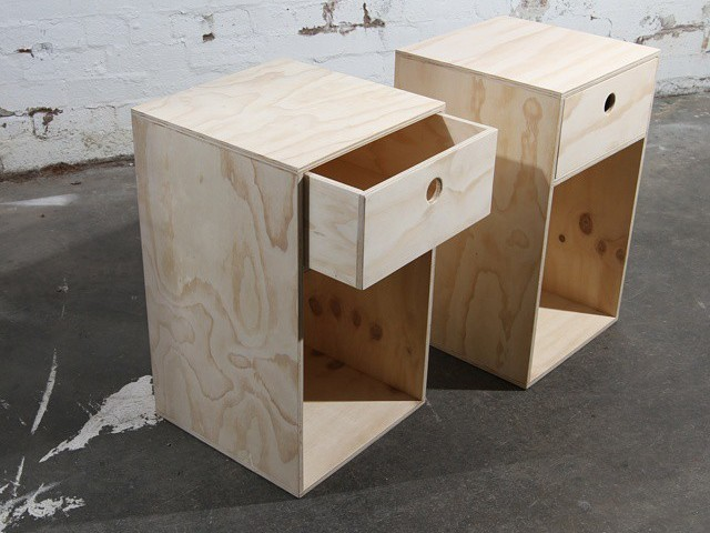 Simple Bedside by Like Butter - Plywood, Raw Finish, Bedside Table, Bedroom Furnitures