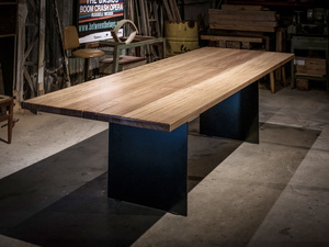 Contemporary Timber and Steel Dining Table by Trevor Neal - Furniture, Contemporary Furniture, Dining Table, Interior Design, Interiors, Recycled Timber, Fine Furniture, House
