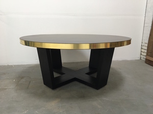 Round Oregon Dining Table by Anthony Kleine - Oregon, Stained Black, Brass, Round, Table, Dining