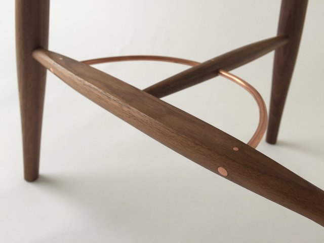 Leaf Stool by Bernard Chandley - Stool, Contemporary Furniture, Walnut, Minimalistic, Copper Bracing, Leaf Stool, Asymmetric
