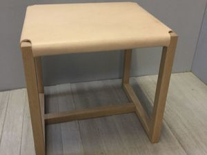 Leather Stool by Chris Colwell - Minimalistic, Stool, Custom Made, Custom Size, American Oak, Natural Leather, Natural Colour