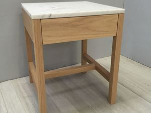 Marble and American Oak Sidetable with single drawer by Chris Colwell - Side Table, Marble, American Oak, Timber, Carrara Marble, Natural Colour