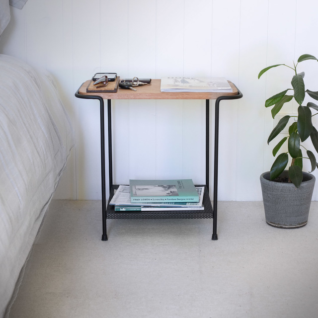 Staple Bedside by The Staple Collection - Bedside, Bedroom, Perforated, Wire, Rod, Black, Minimal, Nightstand, Table