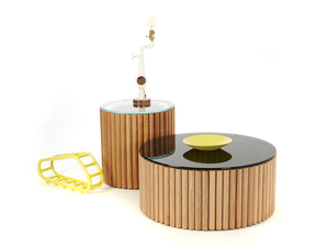 Dowel Coffee Table by So Watt - Storage, Oak, Dowel, Tinted Glass, Living Room, Corporate