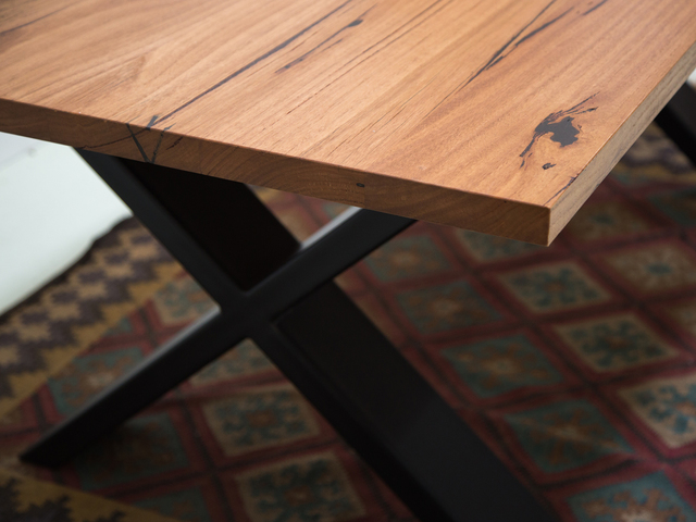Hattie Dining Table with X Steel Legs by Retrograde Furniture - Timber Dining Table, Dining Table