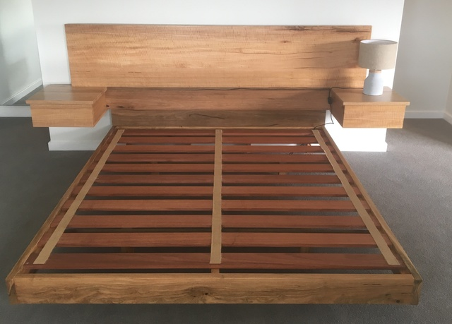 Marri Floating Bed by Andrew Kristoffersson - Marri Bed, Floating Bed, Timber Bed, Sidetables Attached Bed
