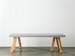 OBI CONCRETE DINING TABLE by SLABSbyDesign - CONCRETE FURNITURE, TIMBER FURNITURE, RECYCLED TEAK, TRESTLE TABLE, CONCRETE DINING TABLE, OUTDOOR TABLE