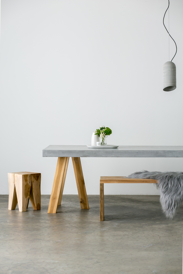 SLABS by Design | OBI Dining Table by SLABS by Design - CONCRETE FURNITURE, TIMBER FURNITURE, RECYCLED TEAK, TRESTLE TABLE, CONCRETE DINING TABLE, OUTDOOR TABLE