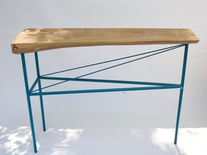 Aqua teal powder coat hall table by Argon Bespoke - Solid Steel, Spotted Gum Wood