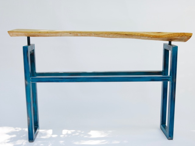 Distressed teal powder coated hall table by Argon Bespoke - Spotted Gum Wood, Box Section Steel, Distressed, Powder Coated