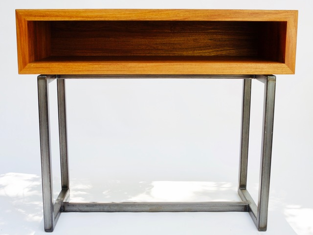 Solid New Guinea rose wood hall bureau  by Argon Bespoke - Rose Wood, Box Section Steel