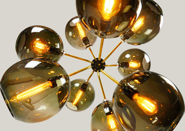Tree of Light by ilanel design studio - Chandelier, Glass Shades, Glass, Brass, Custom